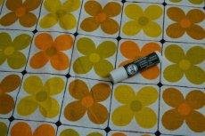 画像3: 70sヴィンテージ・レトロフラワー/イエロー×オレンジ格子 (3)