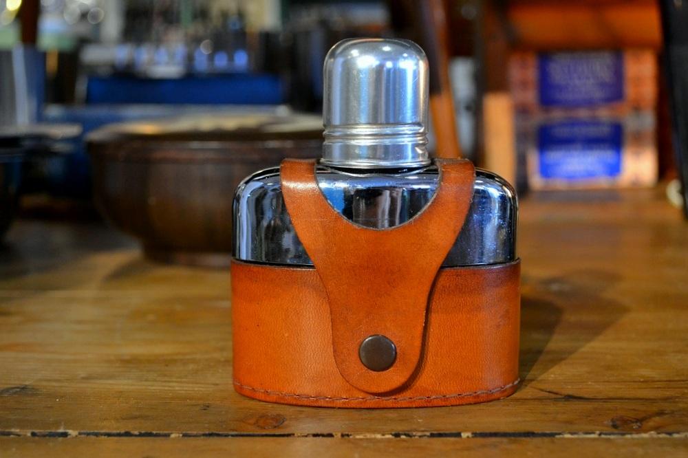 画像1: ガラススキットルS/革カバー茶 (1)